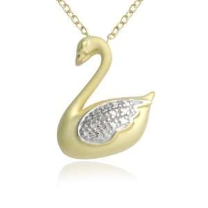 18k Yellow Gold Plated Sterling Silver Genuine Diamond Accent Swan