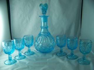 WRIGHT MOON AND STAR ICE BLUE DECANTER AND (6) SIX 3 OZ. WINE