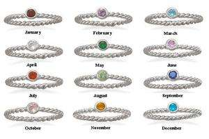 Silver Stackable Birthstone Ring   Mothers Day Gift   925 Jewelry