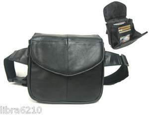 BLACK Fanny Waist Pack Genuine Lambskin Leather Belt Bag Credit Card