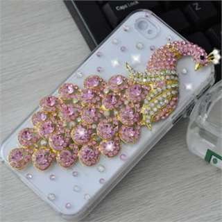 Pink Peacock Bling Diamond Crystal Back Case Cover Skin for iPhone 4G