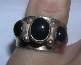 UNIQUE GORGEOUS Sterling Silver Black Onyx 3 Stone Pinky Ring THAILAND