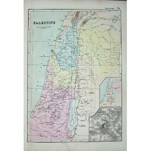 Bacon World Atlas 1891 Map Palestine Plan Jerusalem