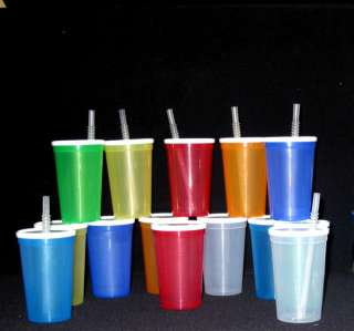 25  20 OZ. PLASTIC DRINKING GLASSES LID STRAW LARGE CUP