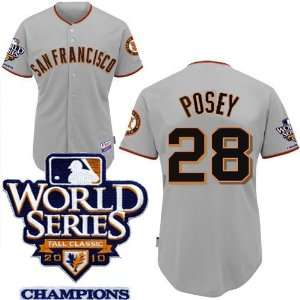 San Francisco Giants #28 Posey 2011 MLB Authentic Grey Jerseys Cool