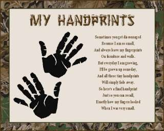 CAMOUFLAGE Baby Handprints Scrapbook Poem Print