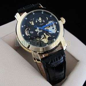 Luxury Automatic Mechanial Wrist Watches in Black Strap Skeleton for