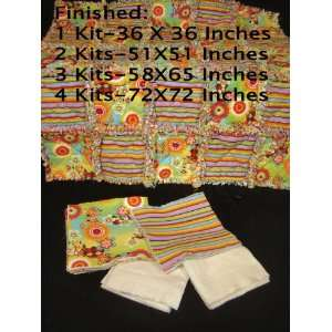 Striped Pre Cut/Fringed Rag Quilt Kit (one kit): Arts, Crafts & Sewing