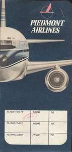 Piedmont Airlines ticket jacket wallet 1970 w/ticket [108 3]