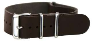20MM LEATHER NATO Style MILITARY WATCH BAND SOLID Strap FITS TIMEX