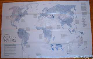 Geographic MAP Poster APRIL 2010 WORLD RIVERS   WATER Footprint