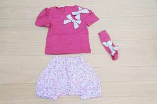 Baby Short Top+ Pants+Headband Set 0 36M Cotton 3 Pcs Costume Clothing