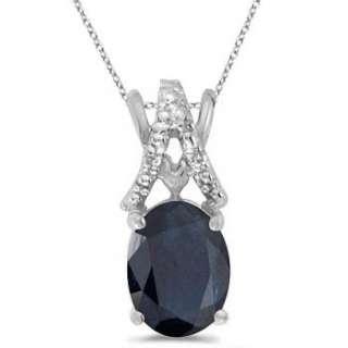 40ct Oval Blue Sapphire & Diamond Pendant 14k W Gold