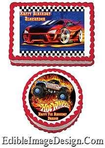 HOT WHEELS CARS Birthday Party Edible Cake Image Decoration Cupcake