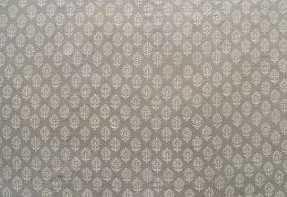 Hand Block Print, Cotton Fabric. Natural Dyes. 2½ Yards. Gray & Beige