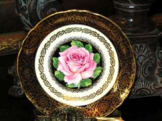 Simply Stunning Paragon COBALT BLUE GOLD PINK ROSES Tea Cup and Saucer