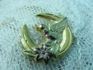 Art Nouveau Crescent Moon Bird n Flower Yellow & Rose Gold Fill Pin