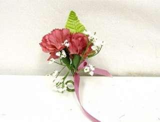 PINK MAUVE Carnation Boutonniere Silk Wedding Flowers