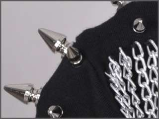 SC120 Chain Black Spike Punk Rock T shirt Top Gothic