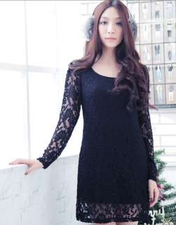 Korea womens long sleeves party dinner lace tops dress plus size 14