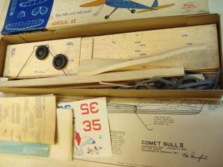 COMET GULL II BALSA FLYING MODEL AIRPLANE KIT 30 WS **