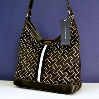 Tommy Hilfiger Black Logo Handbag Purse Hobo Bag