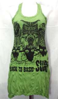 OWL Bird T Shirt Mini Tank Dress TOP Hippie Tunic Sz S