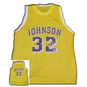 Magic Johnson Autographed Los Angles Lakers Gold Replica Jersey