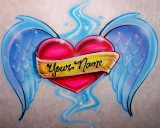 Airbrushed Heart Angel Wings Custom Tattoo Style T Shirt Airbrush any