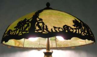 MAGNIFICENT C.1910 EMPIRE BENT SLAG GLASS LAMP