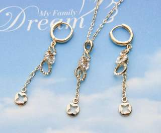 14K GOLD PLATED CHARMING NECKLACE EARRINGS SET FS001G