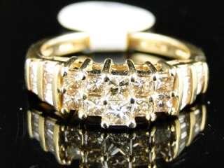 YELLOW GOLD PRINCESS CUT DIAMOND WEDDING BAND FASHION RING 1 CT