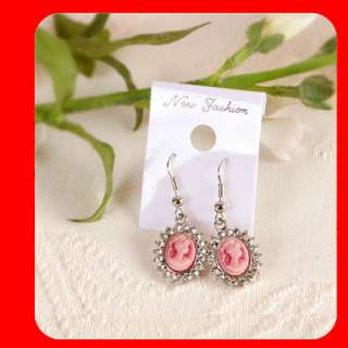 Swarovski Crystal CAMEO Earrings White gold WGP Pink