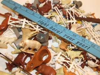 Lot Plastic Rubber Farm Animals Barn Toys Play Set Pigs Cows Marx NR