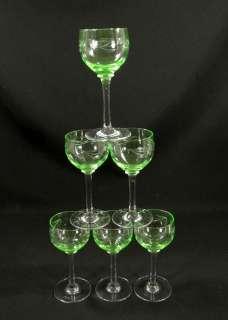 ART DECO BOHEMIAN CUT VASELINE GLASS WINE GOBLET STEM CUP SET~CHERRIES