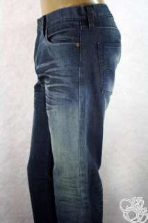 JEANS 514 Slim Fit Straight Leg 3D Coated Dark Blue Mens Denim Pants