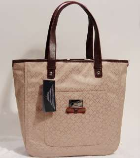 NEW Tommy Hilfiger TH Logo Khaki Handbag Tote Hobo Tote Bag Purse