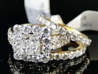 13 CT YELLOW GOLD PRINCESS CUT DIAMOND BRIDAL ENGAGEMENT 3 PIECE