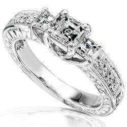 14k Gold 1ct TDW Asscher cut 3 stone Diamond Ring (H I, SI I1 I2