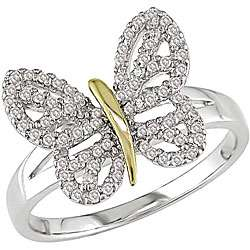14k Two tone Gold 1/4ct TDW Diamond Butterfly Ring (I J, I2 I3