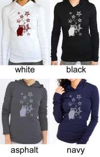 Owl & Stars Hooded Long Sleeve T Shirt American Apparel