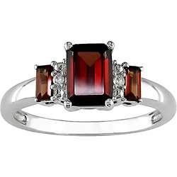 10k White Gold Garnet Diamond Accent Ring