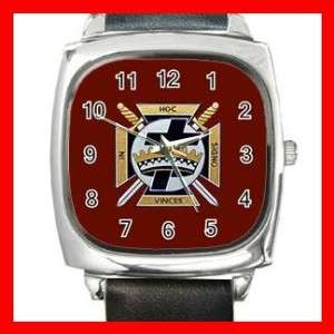 Red Knights Templar Masonic Square Metal Wrist Watch