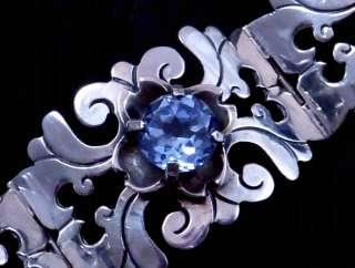 VINTAGE BRACELET TAXCO MEXICO MEXICAN STERLING SILVER BLUE CITRINE
