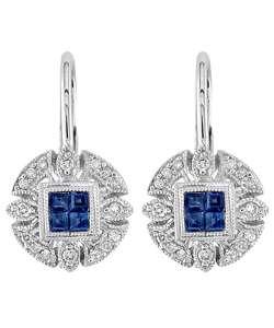 14k Sapphire & Antique Diamond Leverback Earrings