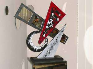 Contemporary Modern Abstract Art Table Top Sculpture with Mirrors