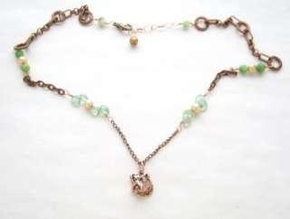 18k Rose Gold VM Bulldog Dog Pearl Apatite Necklace