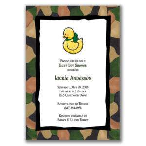 Army Duck Invitations Green Camouflage Baby Shower Boys