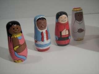 Handpainted Wooden People Around the World Russian Nesting Doll Globe