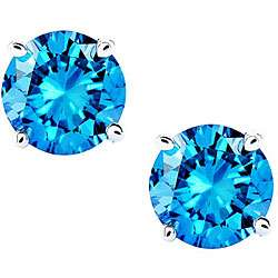 14k White Gold 3ct TDW Blue Diamond Stud Earrings